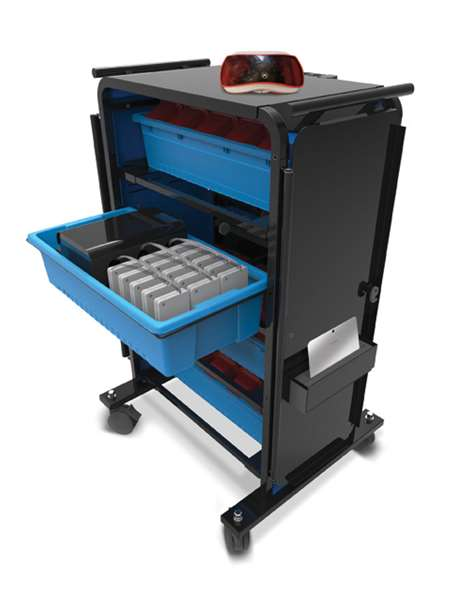 Virtual Reality (VR) Storage Cart-device storage tub pulled out