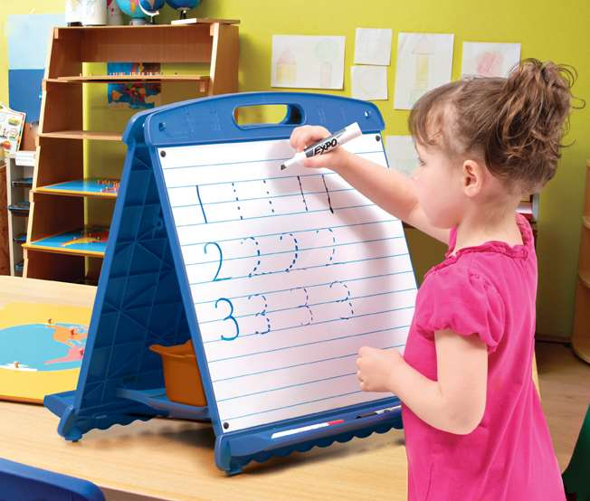 "Tabletop Easel (magnetic dry erase board with 1"" spaced blue lines)"
