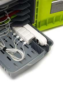 Improved Easy-access storage tray for device adapters and power strip