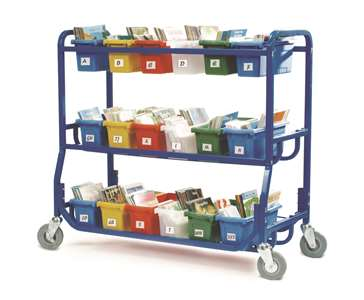 Library on Wheels™ with 18 Small Tubs (with labels)