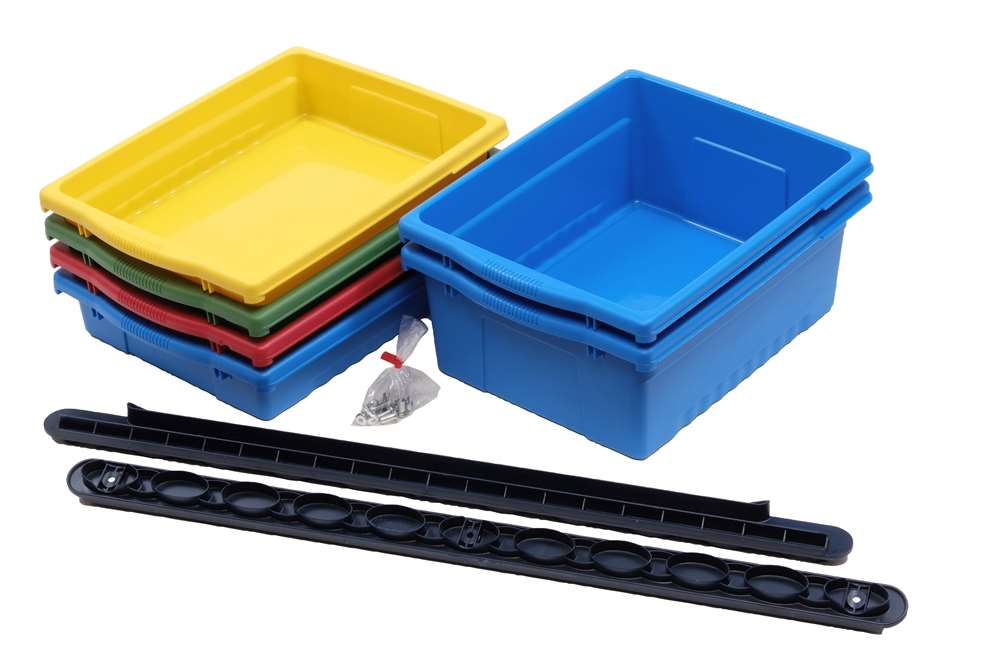 Tub pack includes: 4 Large Open Tubs (blue), 4 Stubby Tubbys (2 x blue and 2 x red), and 2 tub channels with safety stops