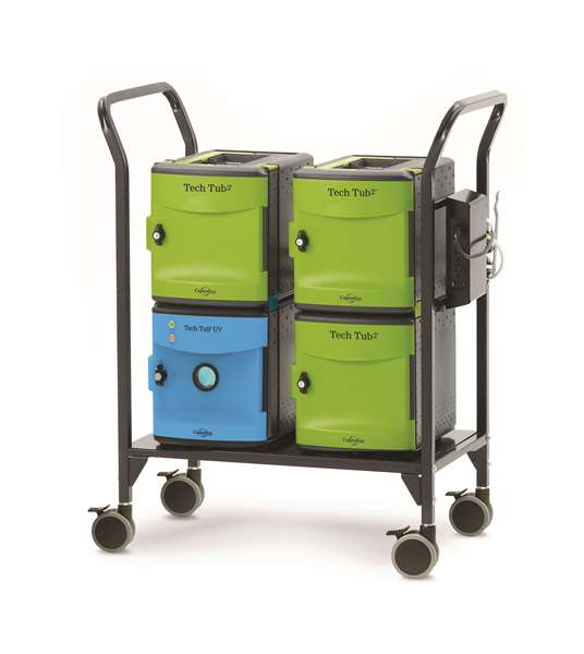 Tech Tub2 Modular Cart with UV Tub – USB charges and syncs 18 iPads