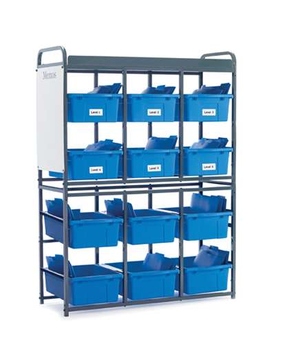 Storage Room Organizer for Leveled Literacy Programs with Blue Tubs