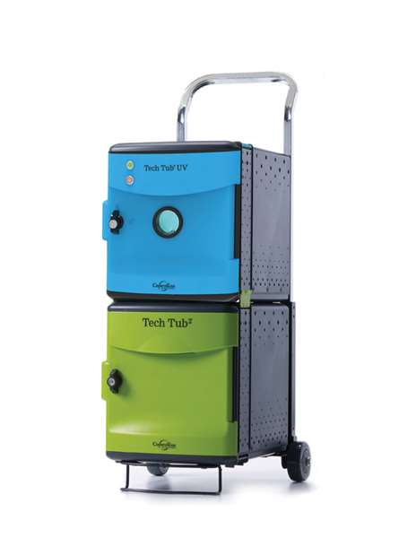 Green Tech Tubs Charge 6 devices and blue UV Tech Tub disinfects devices in less than one minute (one at a time).