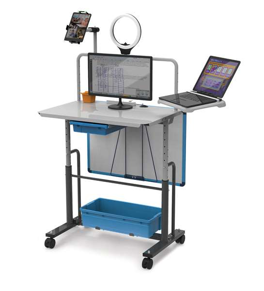 "Shown in standing position (height-adjustable upon assembly). Desktop can be set 30""-40"" from the floor."