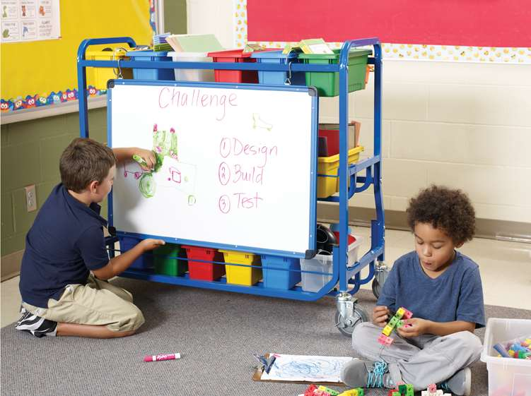 STEM Storage Cart (back view with dry erase board)