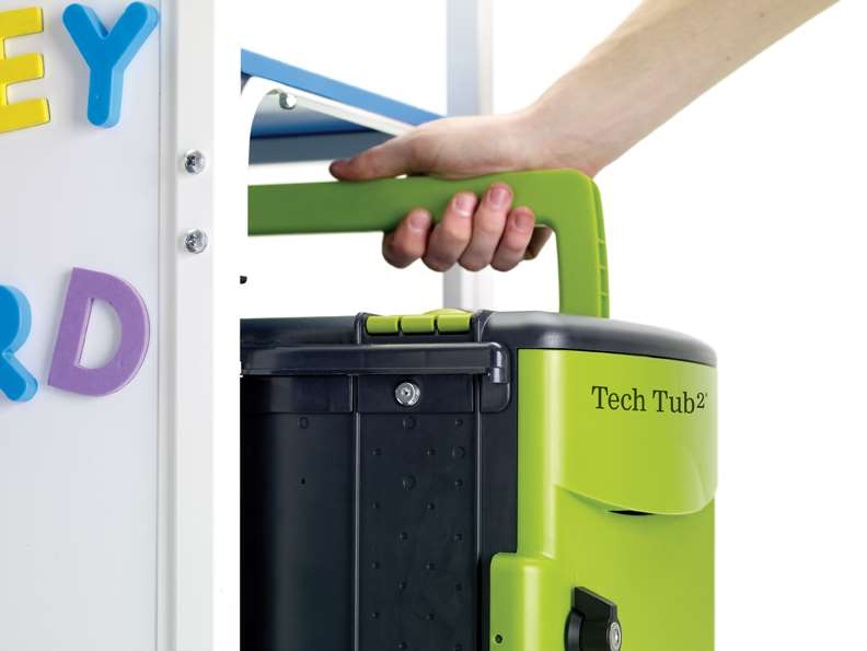 Tech Tub2- holds 6 devices with flip-up handle