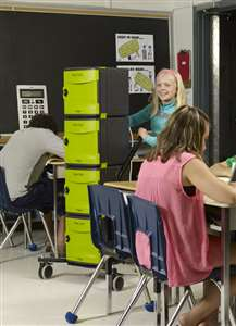"Large handle and 4"" locking casters makes maneuvering the cart easy for students and teachers"