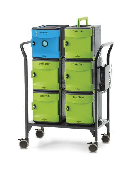 Tech Tub2 Modular Cart with UV Tub – USB charges and syncs 26 iPads