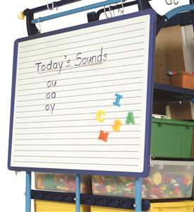 Rear removable double-sided dry erase board with lines on one side