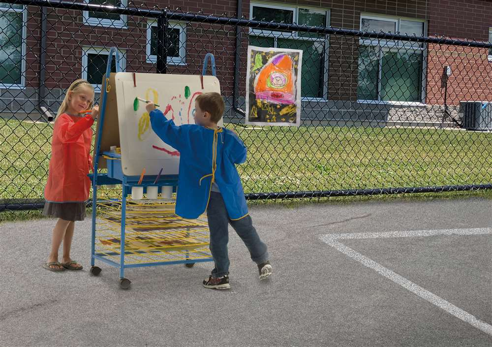 Double Sided Art Easel used for outdoor lesson