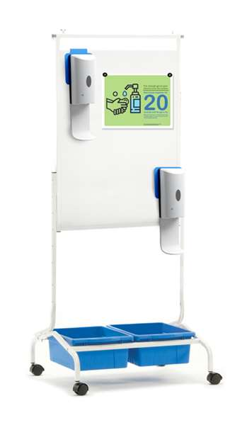 Deluxe Chart Stand Sanitizer Station (shown with book ledge removed)