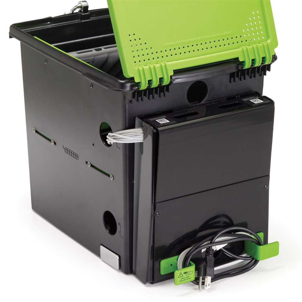 USB sync hub can be mounted to the back, if needed, to accommodate larger iPad® cases.