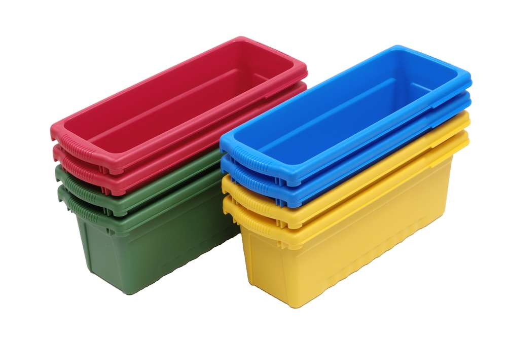 8 x Small Open Tub pack: 2 x blue, 2 x yellow, 2 x red and 2 x green)