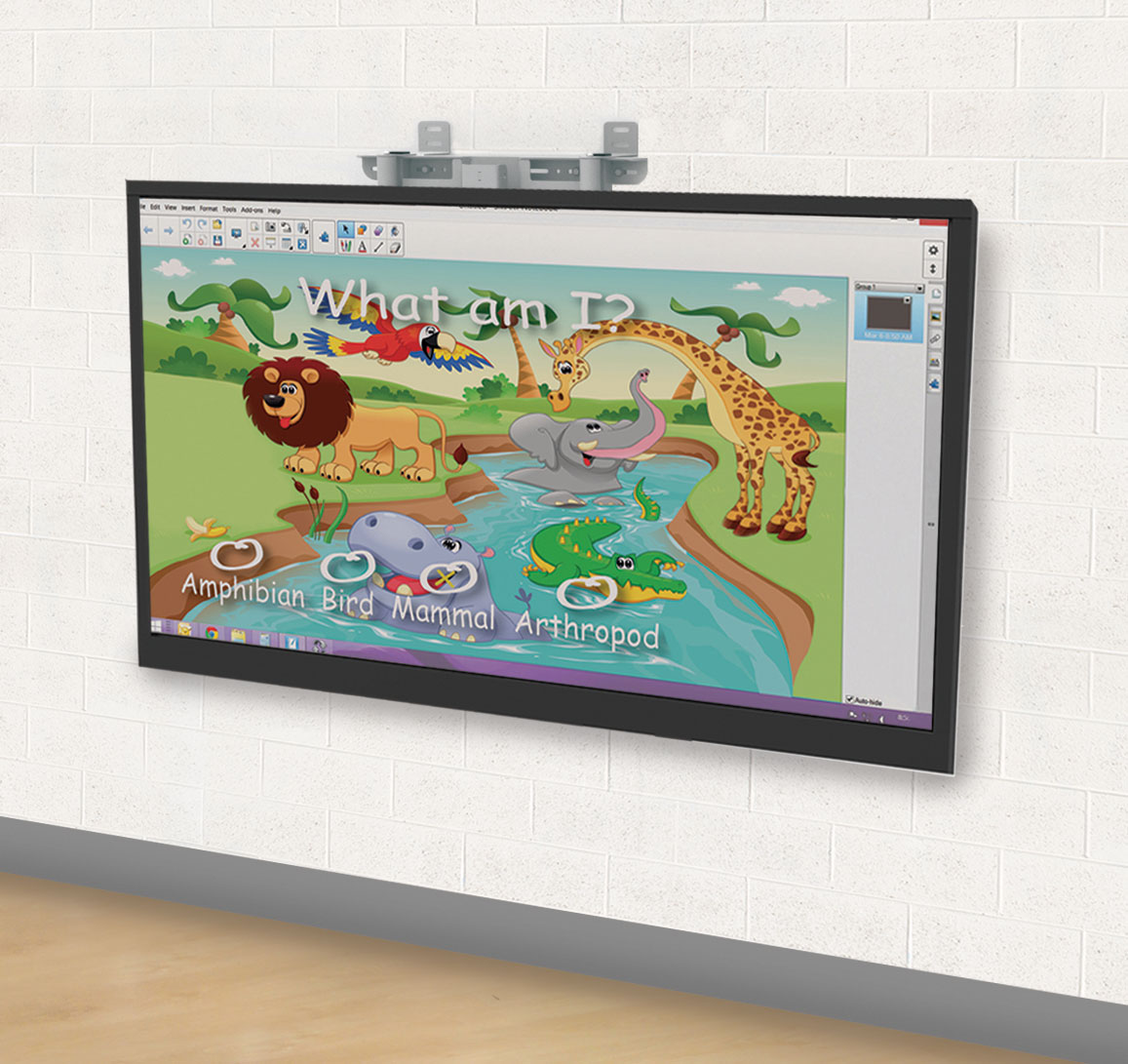 Height adjustable wall mount for interactive flat panels